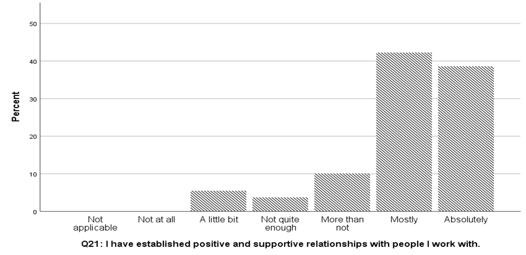"A graph showing responses to the statement ""I have established positive and supportive relationships with the people I work with,"" with the majority of respondents answering ""mostly"""