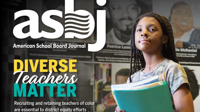 "The cover image of ASBJ February 2021, which reads ""diverse teachers matter"""