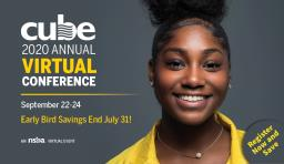 "a girl smiling at the camera, the text reads ""CUBE 2020 annual virtual conference"""