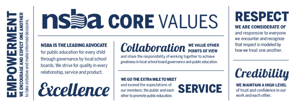 A typography graphic displaying NSBA's core values