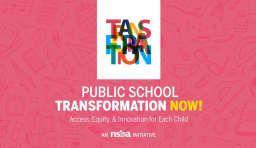 An image with the public school transformation now logo and hedline