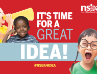 "A graphic displaying kids shouting into a megaphone, giving a thumbs up and shouting, with the text ""It's Time for a Great Idea!"" displayed"