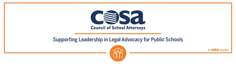 "COSA's logo and the text ""supporting leadership in legal advocacy for public schools"""